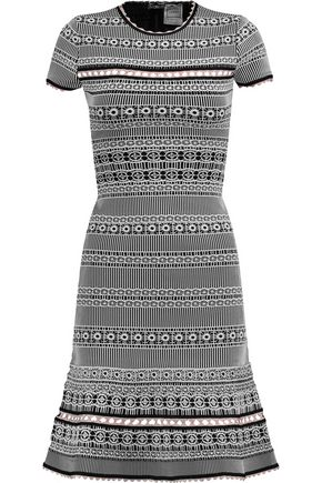 HERVÉ LÉGER Cutout jacquard-knit dress
