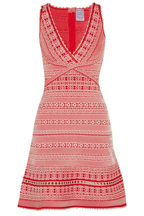 HERVÉ LÉGER BY MAX AZRIA Stretch jacquard-knit mini dress