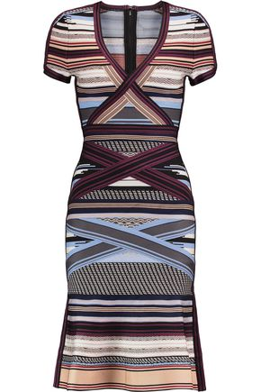 HERVÉ LÉGER Lavinia striped bandage dress