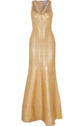 HERVÉ LÉGER BY MAX AZRIA Gabriela fluted metallic bandage gown