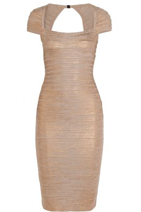HERVÉ LÉGER BY MAX AZRIA Metallic bandage dress
