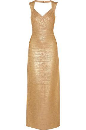 HERVÉ LÉGER BY MAX AZRIA Estrella cutout metallic bandage gown