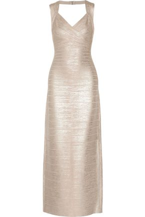 HERVÉ LÉGER BY MAX AZRIA Estrella Open-Back Metallic Bandage Gown in Platinum