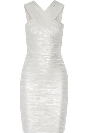 HERVÉ LÉGER Stella metallic bandage dress