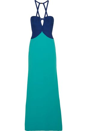 HERVÉ LÉGER Cutout two-tone bandage and crepe gown