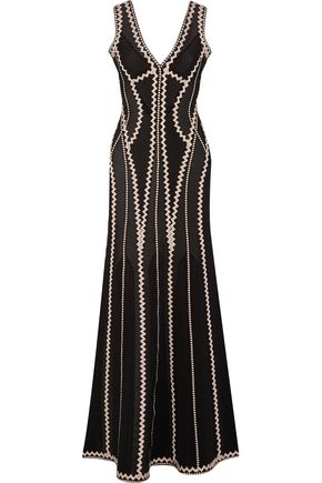 HERVÉ LÉGER Lineisey stretch pointelle-knit gown