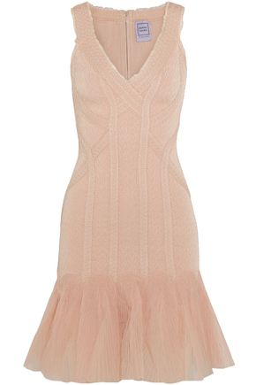 HERVÉ LÉGER Tulle-paneled jacquard-bandage mini dress