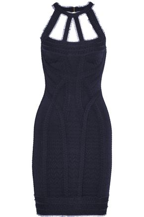 HERVÉ LÉGER BY MAX AZRIA Cutout tulle-trimmed bandage mini dress