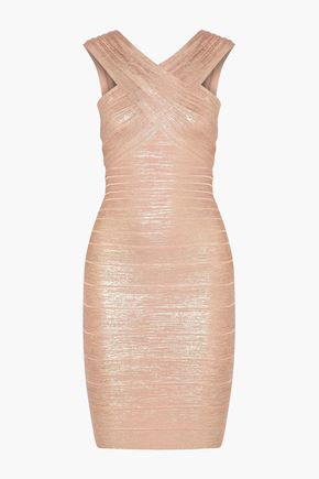 HERVÉ LÉGER BY MAX AZRIA Stella wrap-effect metallic bandage mini dress