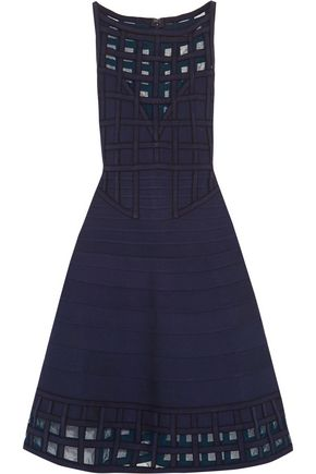 HERVÉ LÉGER BY MAX AZRIA Alisha tulle-paneled bandage dress
