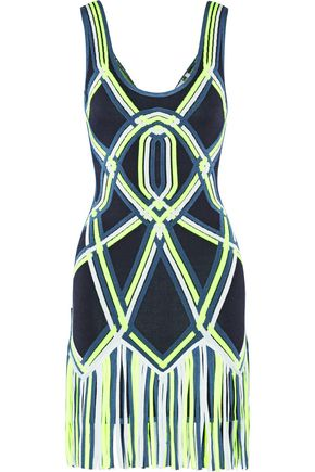 HERVÉ LÉGER BY MAX AZRIA Charoletta fringed neon bandage mini dress