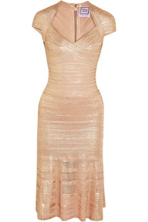 HERVÉ LÉGER BY MAX AZRIA Pleated metallic bandage dress