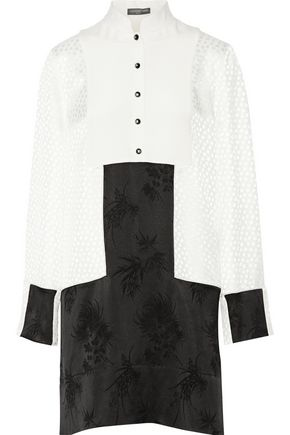 ALEXANDER MCQUEEN Paneled jacquard mini dress