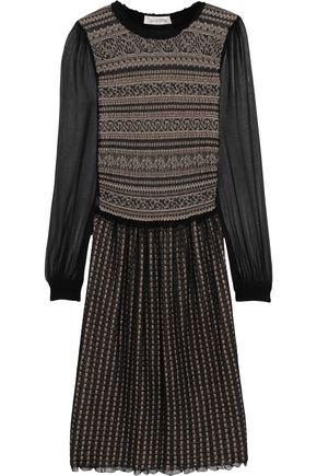 VALENTINO Pointelle-knit wool-blend dress