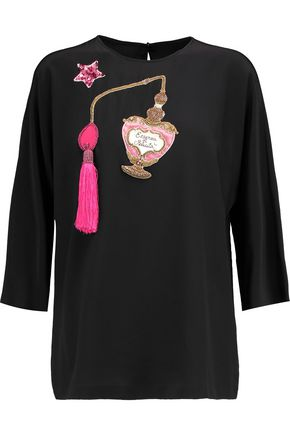 DOLCE & GABBANA Embellished crepe de chine top