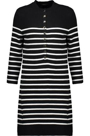 MAJE Striped knitted mini dress