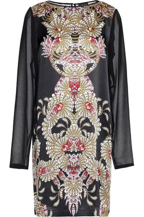 JUST CAVALLI Printed silk and chiffon mini dress