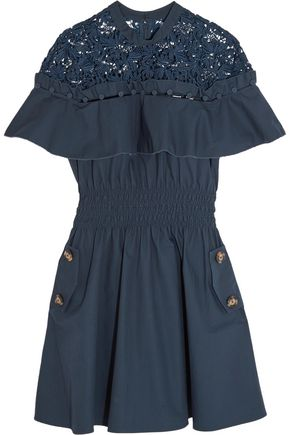 SEE BY CHLOÉ Hudson guipure lace-paneled cotton-poplin mini dress