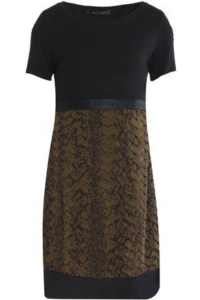 ROBERTO CAVALLI Ruffled printed silk and stretch-knit mini dress