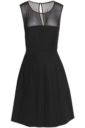 HALSTON HERITAGE Georgette-paneled cotton-blend ponte mini dress
