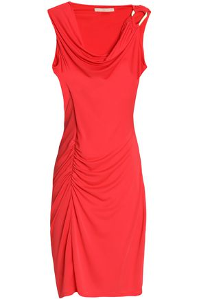 HALSTON HERITAGE Ruched draped stretch-jersey mini dress
