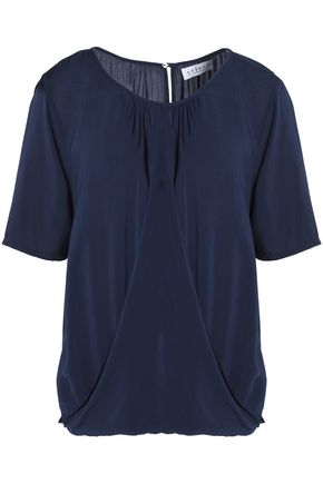 VELVET by GRAHAM & SPENCER Draped crepe de chine blouse