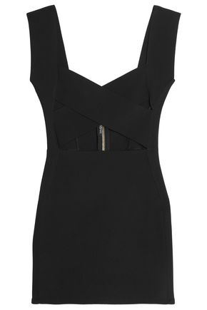 BALMAIN Cutout stretch-ponte mini dress