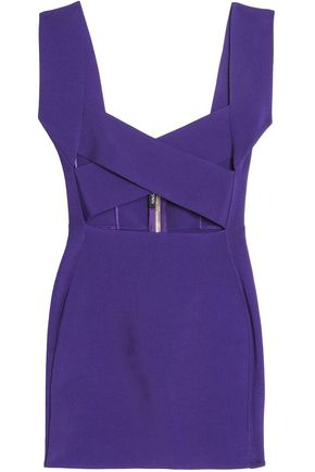 BALMAIN Cutout stretch-knit mini dress