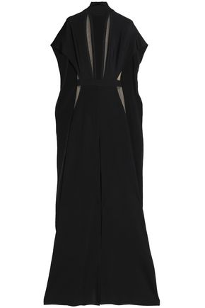BALMAIN Cape-effect cutout ponte turtleneck jumpsuit