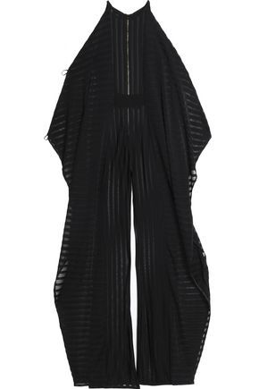 BALMAIN Cold-shoulder draped stretch-knit jumpsuit