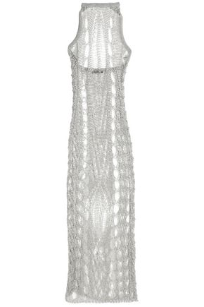 BALMAIN Metallic open-knit halterneck midi dress