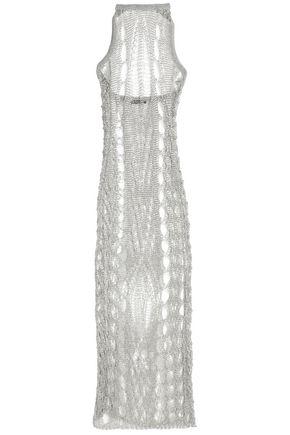 BALMAIN Metallic open-knit halterneck midi dress