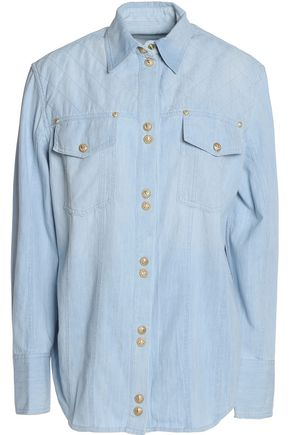 BALMAIN Button-detailed cotton-chambray shirt