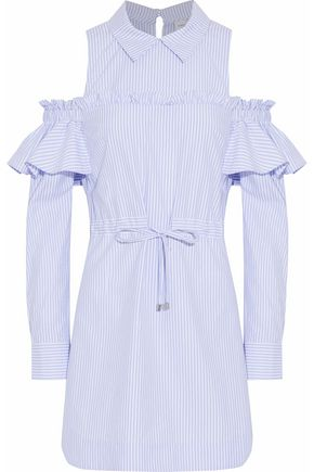 REBECCA VALLANCE Cold-shoulder ruffle-trimmed striped cotton-blend dress