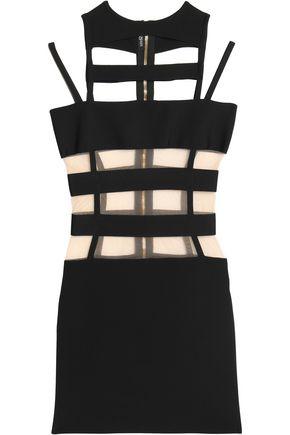 BALMAIN Tulle-paneled cutout stretch-ponte mini dress