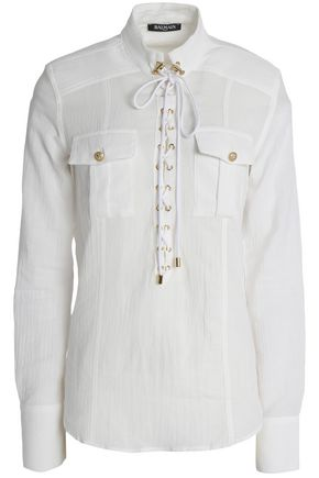 BALMAIN Lace-up cotton-gauze shirt