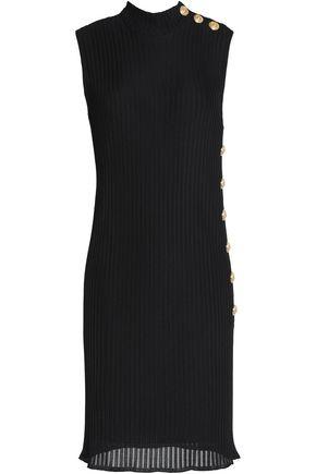 BALMAIN Button-detailed ribbed-knit mini dress