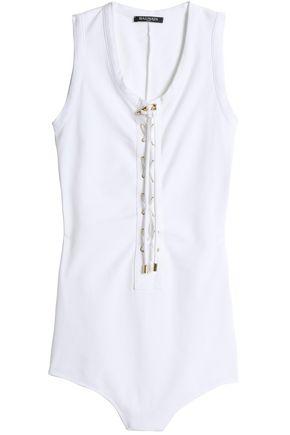 BALMAIN Lace-up cotton-jersey bodysuit