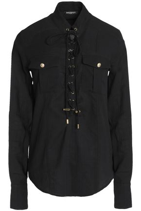 BALMAIN Lace-up cotton-poplin shirt