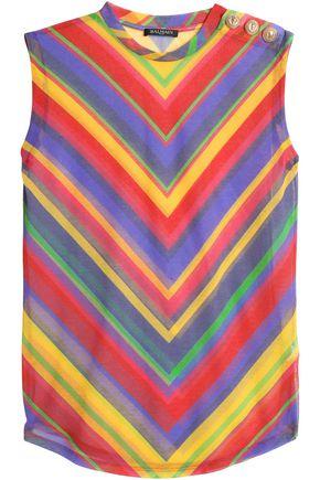 BALMAIN Printed cotton-blend top