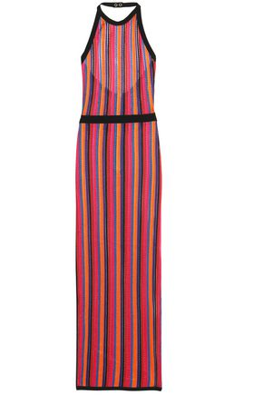 BALMAIN Striped knitted halterneck gown