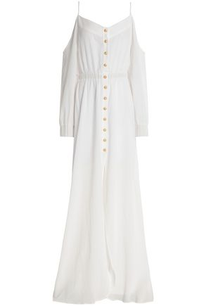 BALMAIN Cold-shoulder gathered cotton-gauze gown