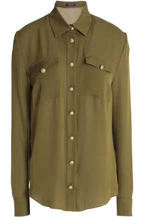 BALMAIN Button-detailed silk shirt