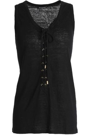 BALMAIN Lace-up slub linen-jersey top