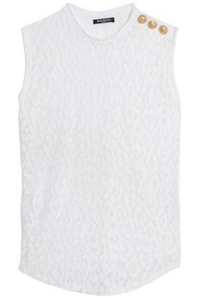 BALMAIN Flocked cotton-blend top