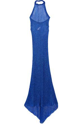 BALMAIN Open-knit halterneck gown