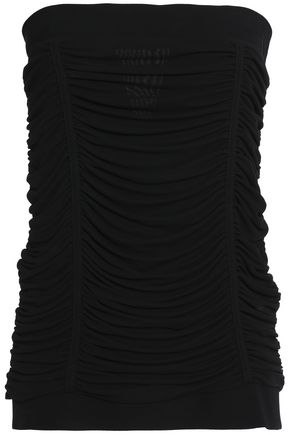 BALMAIN Off-the-shoulder draped crepe top