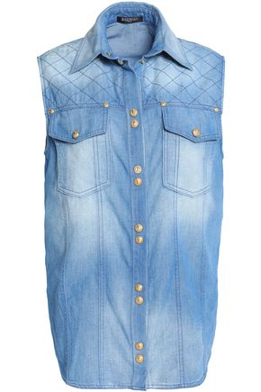 BALMAIN Faded chambray shirt