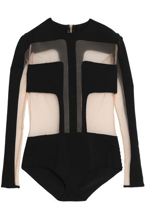 BALMAIN Tulle-paneled stretch-ponte bodysuit