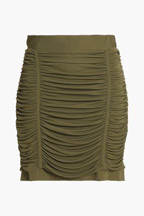 BALMAIN Off-the-shoulder draped crepe top